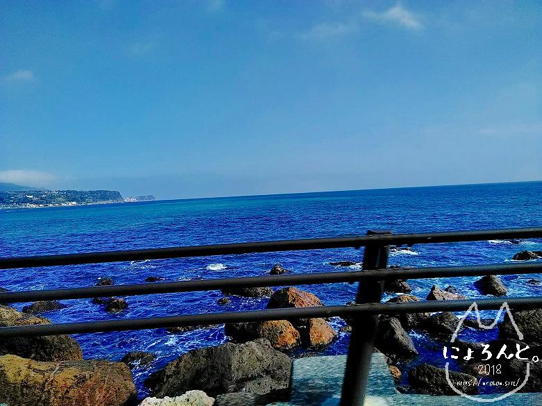 河津浜に向かうタクシーからの眺め