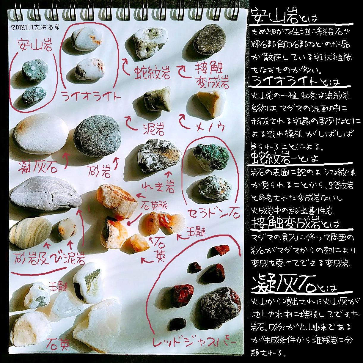 大浜海岸で私が拾った石図鑑