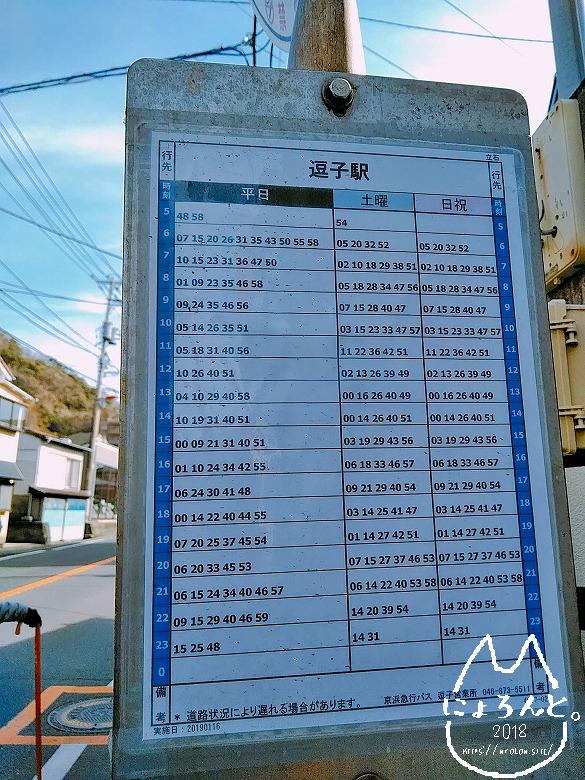 立石海岸バス停時刻表