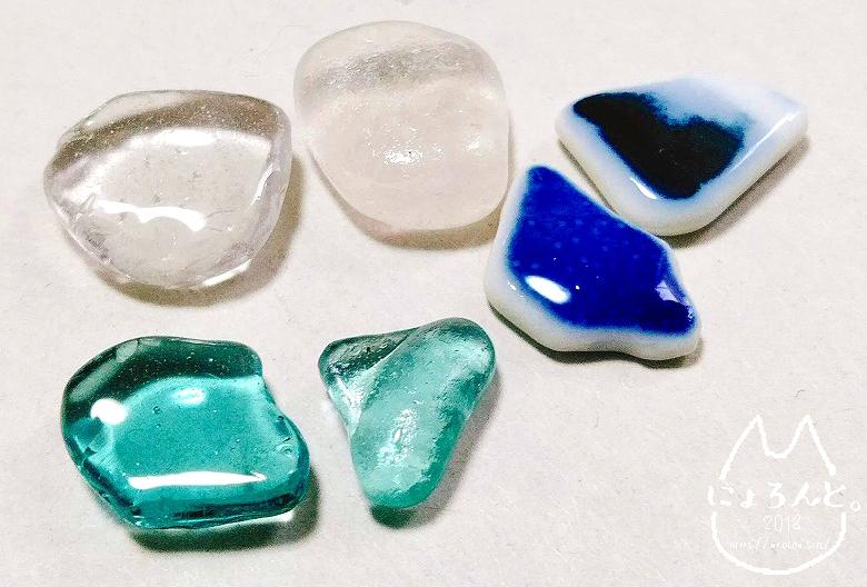 陶片アクセの表面比較・レジンとマニキュア