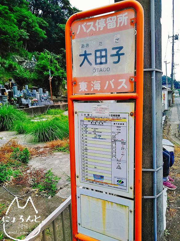大田子海岸でビーチコーミング/バス停