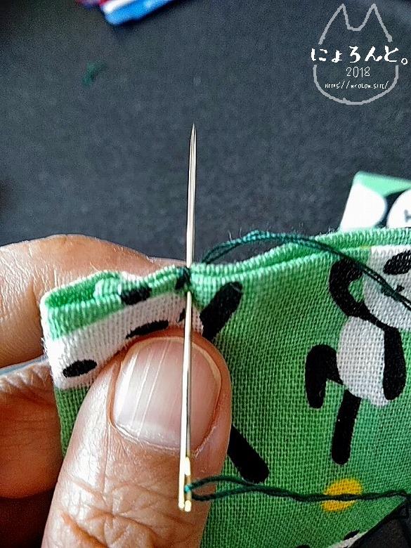 手拭いで作る簡単マスク/端をよく縫う
