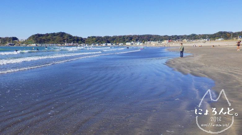 材木座海岸ビーチコーミング/浜の様子