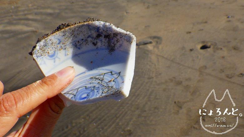 材木座海岸ビーチコーミング/陶片