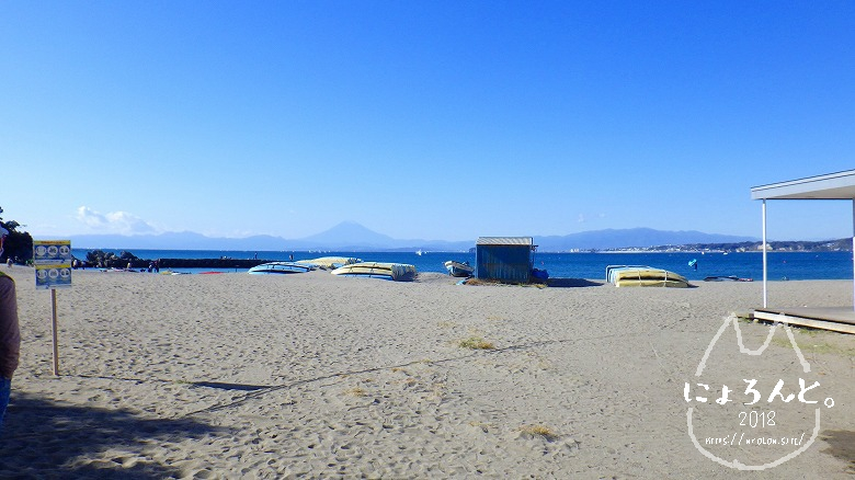 森戸海岸でビーチコーミング/浜のようす