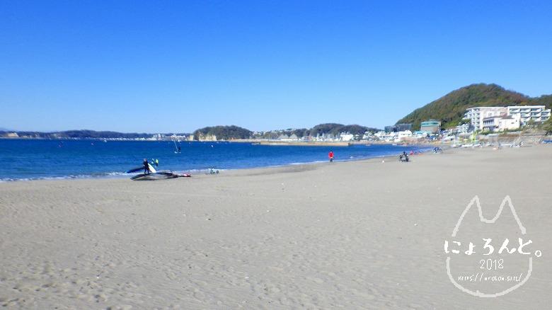 森戸海岸でビーチコーミング/浜の様子