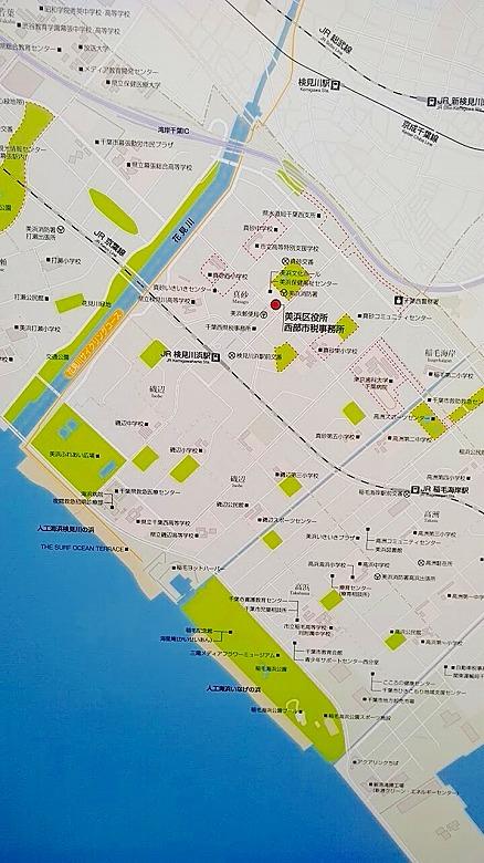検見川浜でビーチコーミング/地図
