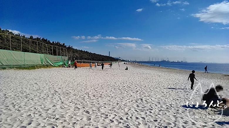 稲毛海岸でビーチコーミング/浜のようす