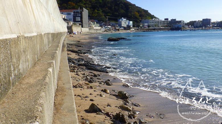 真名瀬海岸でビーチコーミング/浜の様子