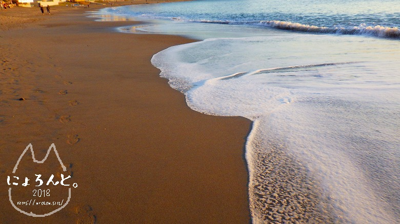 立石海岸でビーチコーミング/クリーミーな泡