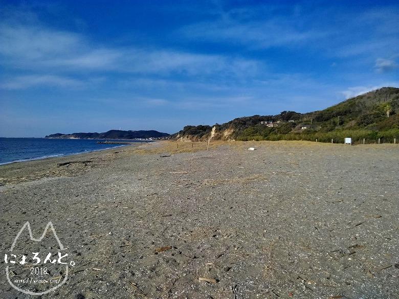 上総湊港海浜公園でビーチコーミング/浜の様子