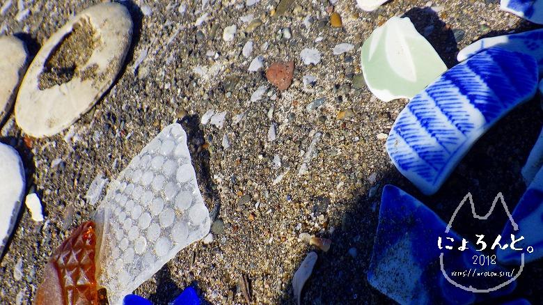 富津の布引海岸でビーチコーミング/シーグラスと陶片