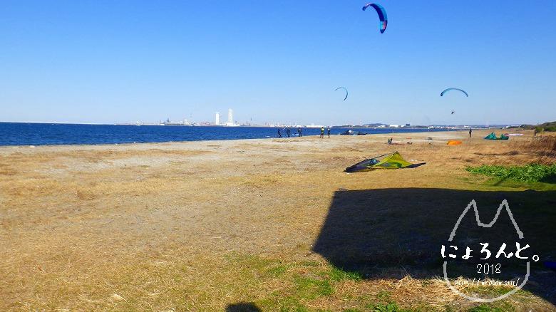 富津公園砂浜でビーチコーミング/浜の様子