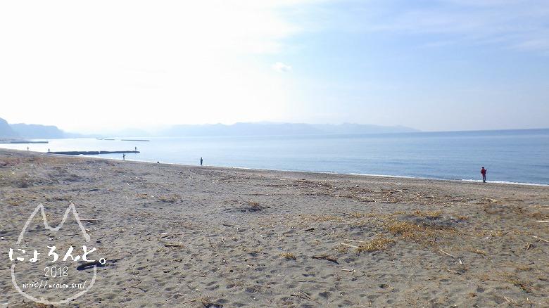新舞子海岸でビーチコーミング/浜の左