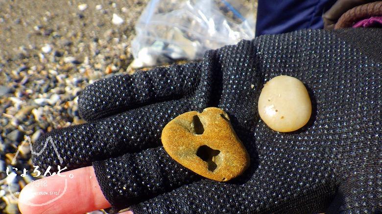 新舞子海岸でビーチコーミング/気になる石