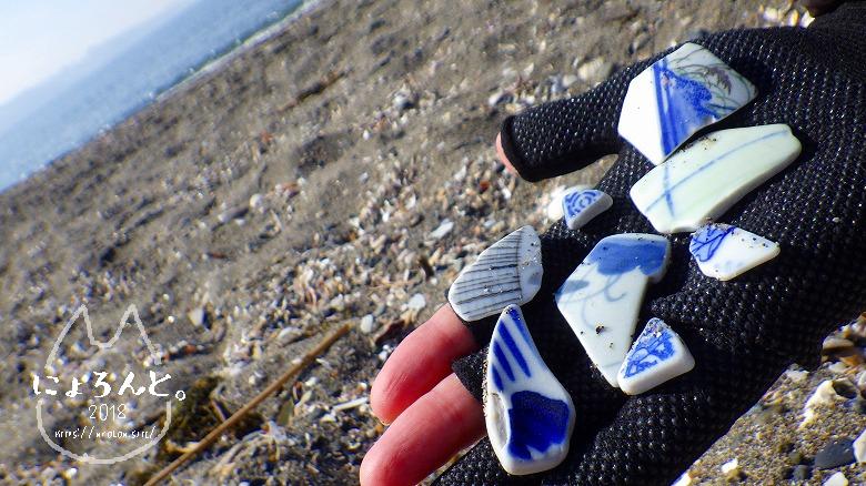 新舞子海岸でビーチコーミング/陶片