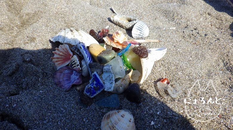 新舞子海岸でビーチコーミング/選別タイム
