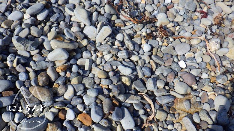 磯崎海岸でビーチコーミング/浜のアップ
