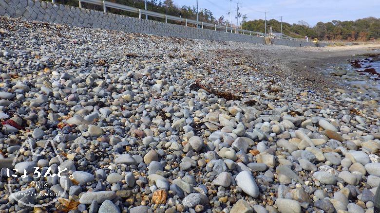 磯崎海岸でビーチコーミング/浜の様子