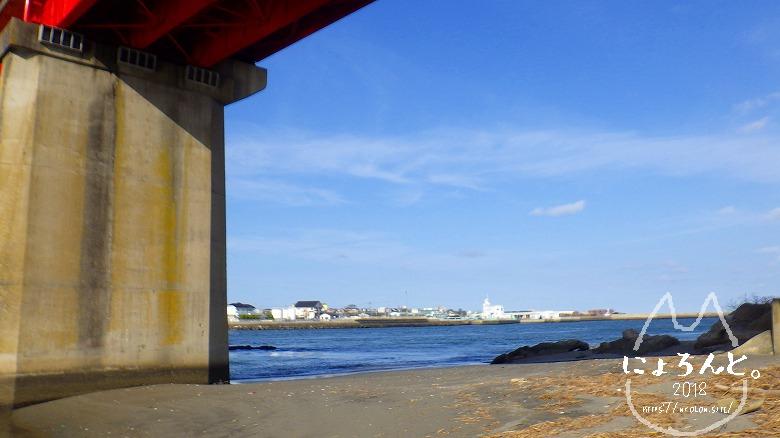 大洗町那珂川・海門橋でリバーコーミング/海門橋下