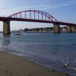 大洗町那珂川・海門橋でリバーコーミング/海門橋
