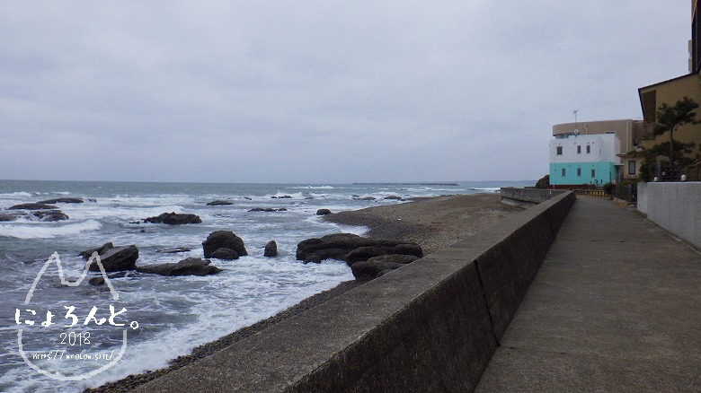 大洗海岸・磯前神社前でビーチコーミング/浜の様子