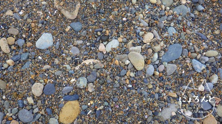 大洗海岸・磯浜灯柱前でビーチコーミング/浜のアップ