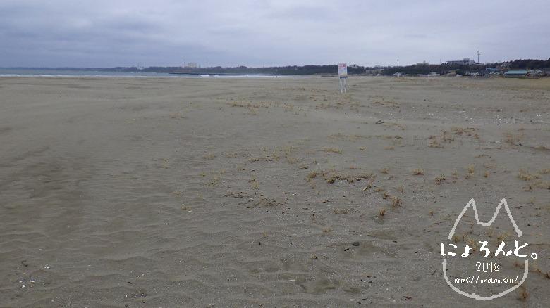 大洗海岸・サンビーチでビーチコーミング/浜の様子