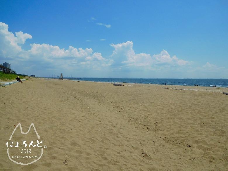 幕張の浜でビーチコーミング/浜の様子